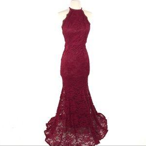 Carolina USA Burgundy Red Lace Backless Dress